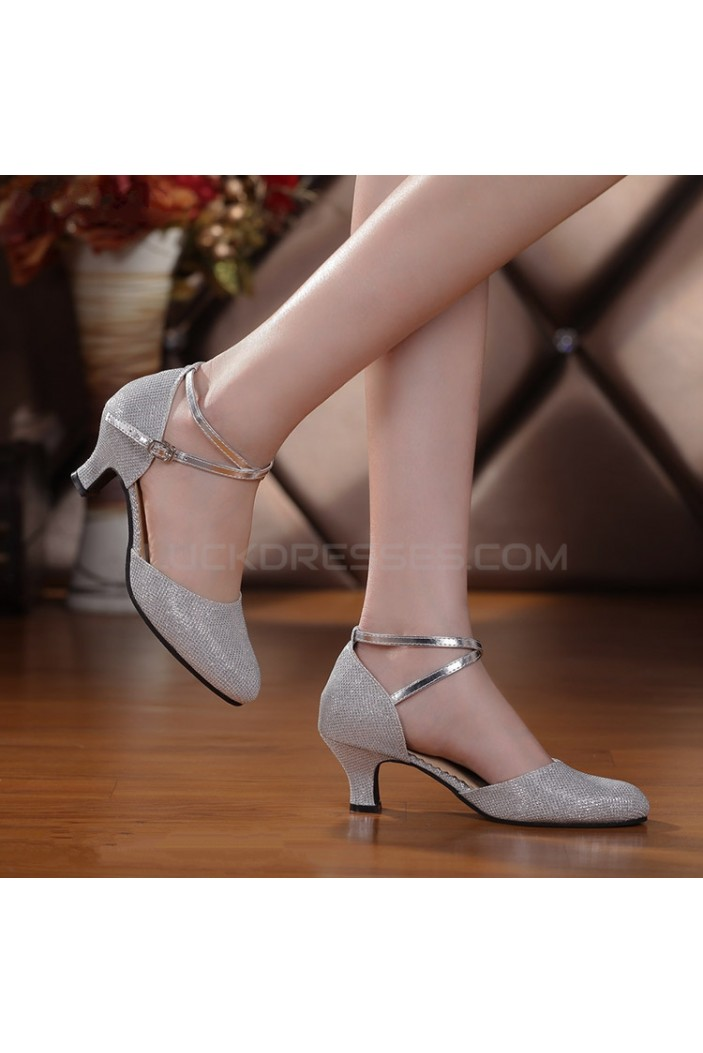 Women's Customizable Heels Pumps With Buckle Latin Dance Shoes Silver Wedding Shoes D801042