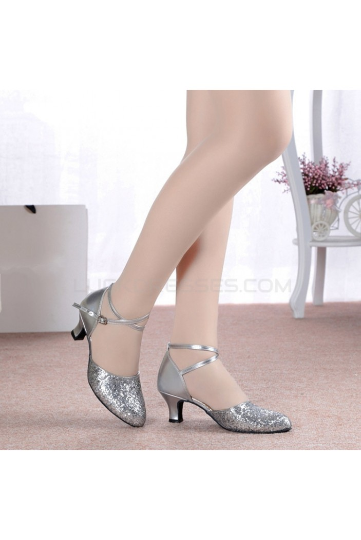 Women's Fashion Silver Sparkling Glitter Heels With Ankle Strap Latin Dance Shoes Wedding Party Shoes D801045