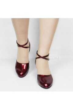 Women's Fashion Heels With Ankle Strap Latin Modern Dance Shoes Burgandy Wedding Party Shoes D801047