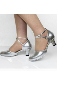 Women's Fashion Heels With Ankle Strap Latin Modern Dance Shoes Silver Wedding Party Shoes D801048