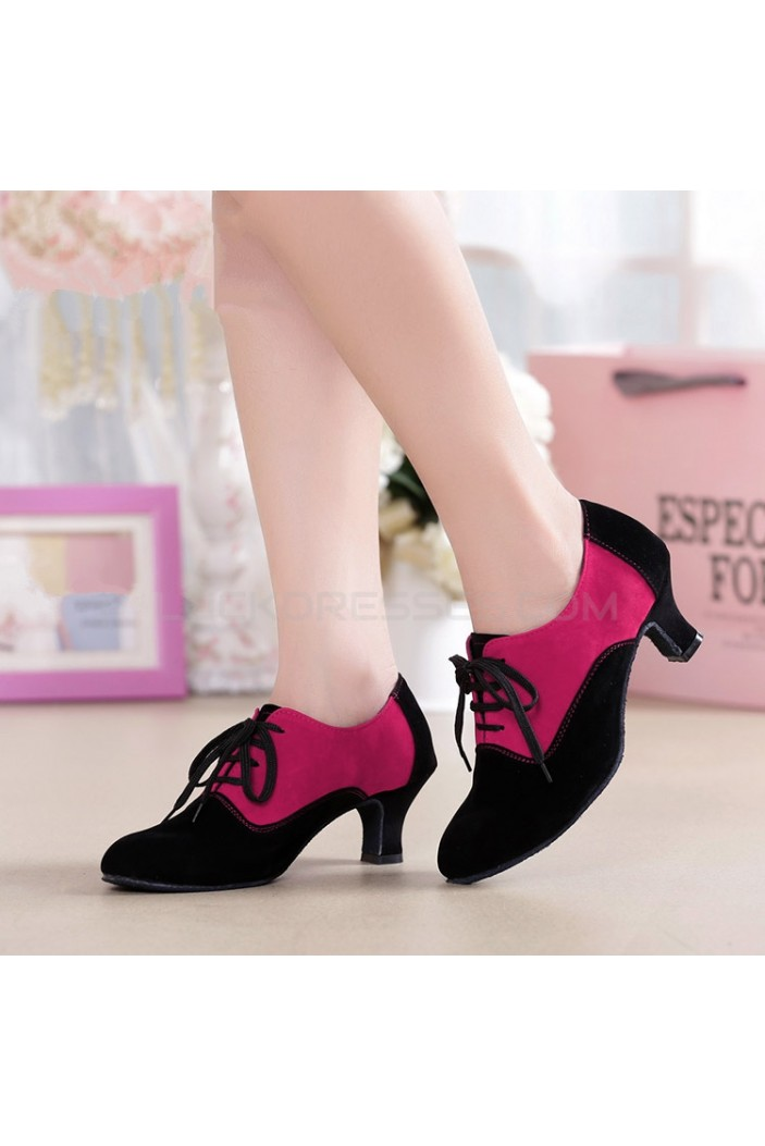 Women's Heels Lace-up Latin Modern Dance Shoes Rose Red Black Wedding Party Shoes D801052