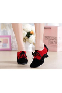 Women's Heels Lace-up Latin Modern Dance Shoes Red Black Wedding Party Shoes D801053