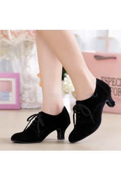 Women's Heels Lace-up Latin Modern Dance Shoes Black Ballroom/Outdoor Dance Shoes D801054