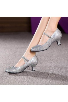 Women's Silver Sparkling Glitter Heels With Buckle Latin Ballroom/Outdoor Dance Shoes Wedding Party Shoes D801055