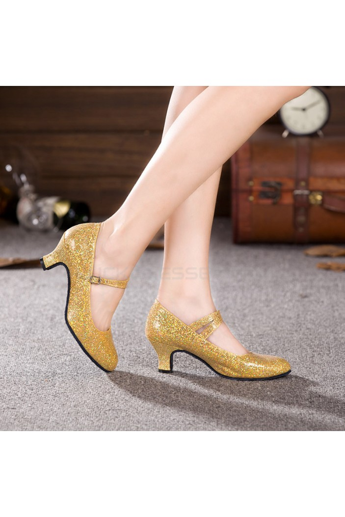Women's Gold Sparkling Glitter Heels With Buckle Latin Ballroom/Outdoor Dance Shoes Wedding Party Shoes D801056