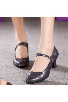 Women's Black Sparkling Glitter Heels With Buckle Latin Ballroom/Outdoor Dance Shoes Wedding Party Shoes D801057