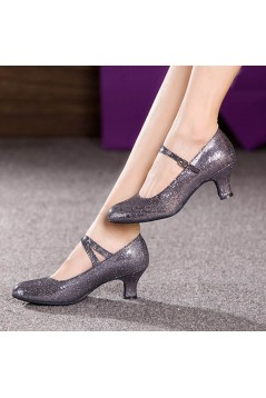 Women's Grey Sparkling Glitter Heels With Buckle Latin Ballroom/Outdoor Dance Shoes Wedding Party Shoes D801059