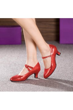 Women's Red Sparkling Glitter Heels With Buckle Latin Ballroom/Outdoor Dance Shoes Wedding Party Shoes D801061