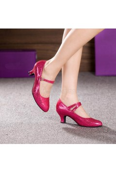 Women's Rose Red Sparkling Glitter Heels With Buckle Latin Ballroom/Outdoor Dance Shoes Wedding Party Shoes D801062