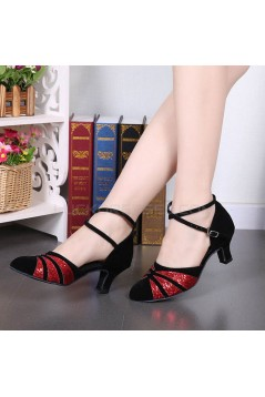 Women's Black Red Sparkling Glitter Heels With Buckle Latin Ballroom/Outdoor Dance Shoes Wedding Party Shoes D801063