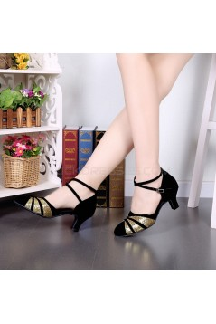 Women's Black Gold Sparkling Glitter Heels With Buckle Latin Ballroom/Outdoor Dance Shoes Wedding Party Shoes D801064