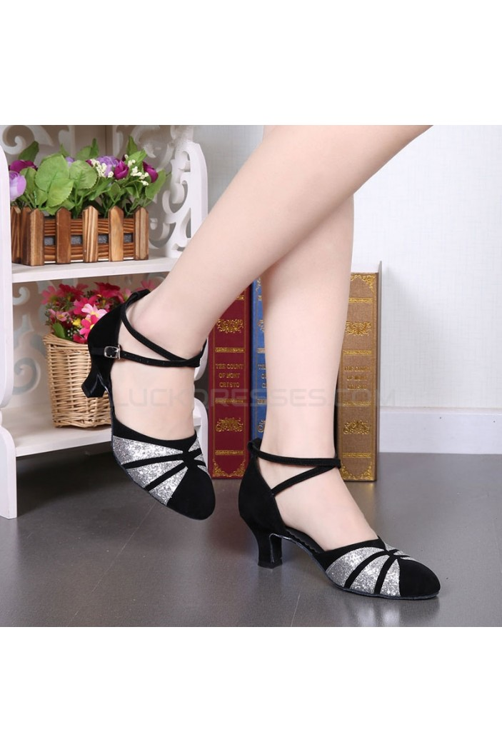 Women's Black Silver Sparkling Glitter Heels With Buckle Latin Ballroom/Outdoor Dance Shoes Wedding Party Shoes D801066