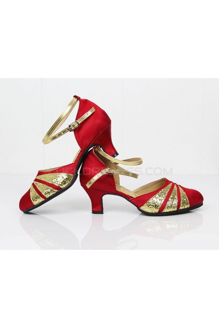 Women's Gold Red Sparkling Glitter Heels With Buckle Latin Ballroom/Outdoor Dance Shoes Wedding Party Shoes D801067