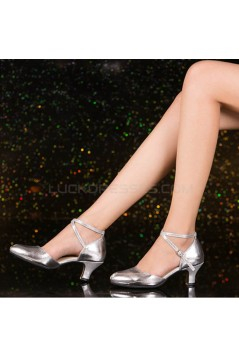 Women's Silver Soft Top Layer Cow Leather Lace Customized Heels Latin/Salsa/Ballroom/Outdoor Dance Shoes Wedding Shoes D801068
