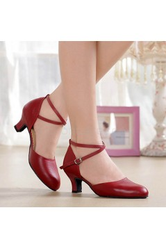 Women's Burgandy Soft Top Layer Cow Leather Lace Customized Heels Latin/Salsa/Ballroom/Outdoor Dance Shoes Wedding Party Shoes D801069