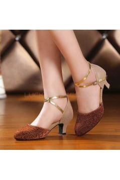Women's Sparkling Glitter Heels With Buckle Latin/Salsa/Ballroom/Outdoor Dance Shoes D801074