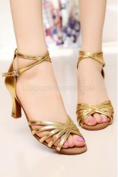 Women's Heels Gold Leatherette Modern Ballroom Latin Salsa Ankle Strap Dance Shoes D901001