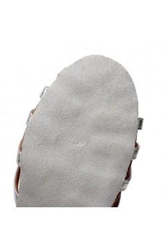 Women's Heels Silver Leatherette Modern Ballroom Latin Salsa Ankle Strap Dance Shoes D901002