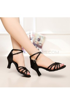 Women's Heels Black Satin Modern Ballroom Latin Salsa Ankle Strap Dance Shoes D901003