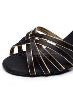 Women's Heels Black Gold Satin Modern Ballroom Latin Salsa Ankle Strap Dance Shoes D901005