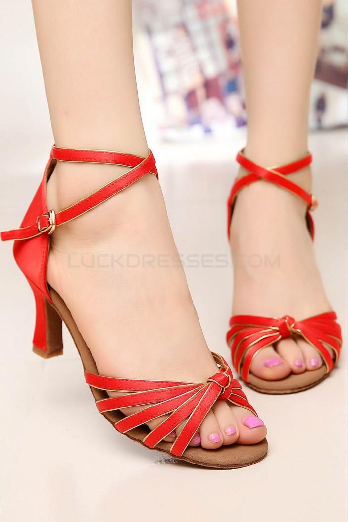 Women's Heels Red Gold Satin Modern Ballroom Latin Salsa Ankle Strap Dance Shoes D901007