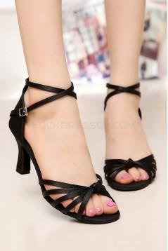 Women's Heels Black Satin Modern Ballroom Latin Salsa Ankle Strap Dance Shoes D901008