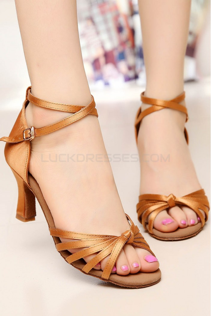 Women's Heels Brown Satin Modern Ballroom Latin Salsa Ankle Strap Dance Shoes D901009