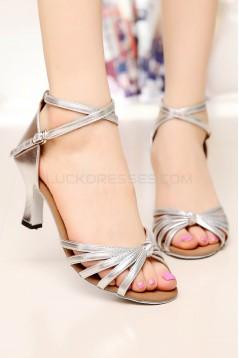 Women's Heels Silver Leatherette Modern Ballroom Latin Salsa Ankle Strap Dance Shoes D901010