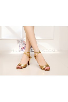 Women's Heels Gold Leatherette Modern Ballroom Latin Salsa Ankle Strap Dance Shoes D901011