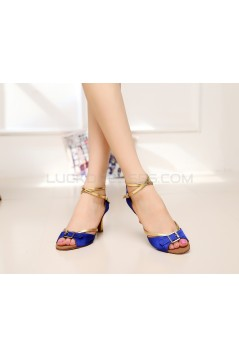Women's Heels Blue Gold Satin Leatherette Modern Ballroom Latin Salsa Ankle Strap Dance Shoes D901012