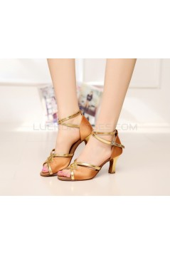 Women's Heels Brown Gold Satin Leatherette Modern Ballroom Latin Salsa Ankle Strap Dance Shoes D901015