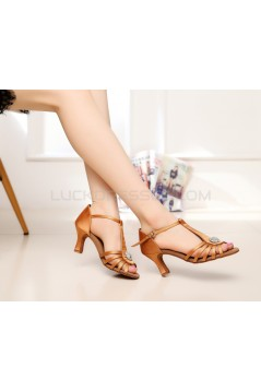 Women's Heels Brown Satin Modern Ballroom Latin Salsa T-Strap Dance Shoes D901016