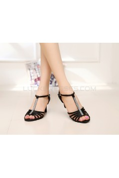 Women's Heels Black Satin Modern Ballroom Latin Salsa T-Strap Dance Shoes D901018