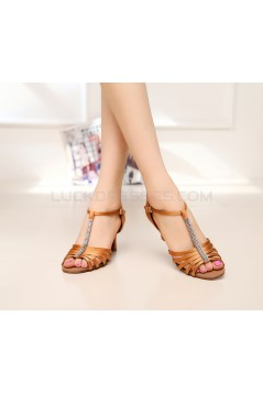 Women's Heels Brown Satin Modern Ballroom Latin Salsa T-Strap Dance Shoes D901019