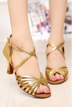 Women's Heels Gold Leatherette Sparkling Glitter Modern Ballroom Latin Salsa Dance Shoes Wedding Shoes D901020