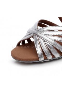 Women's Heels Silver Leatherette Sparkling Glitter Modern Ballroom Latin Salsa Dance Shoes Wedding Shoes D901021