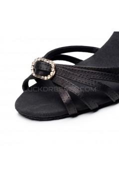 Women's Heels Black Satin Modern Ballroom Latin Salsa Dance Shoes D901022