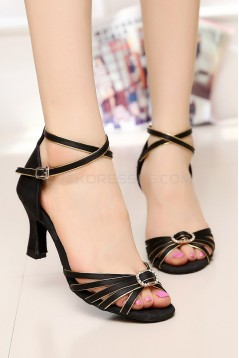 Women's Heels Black Satin Modern Ballroom Latin Salsa Dance Shoes D901023
