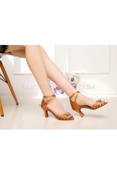 Women's Heels Brown Satin Modern Ballroom Latin Salsa Dance Shoes D901024