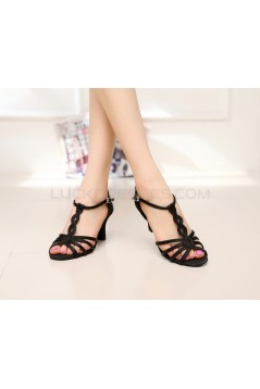 Women's Heels Black Satin Modern Ballroom Latin Salsa Dance Shoes D901025