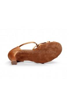 Women's Heels Brown Satin Modern Ballroom Latin Salsa Dance Shoes D901026