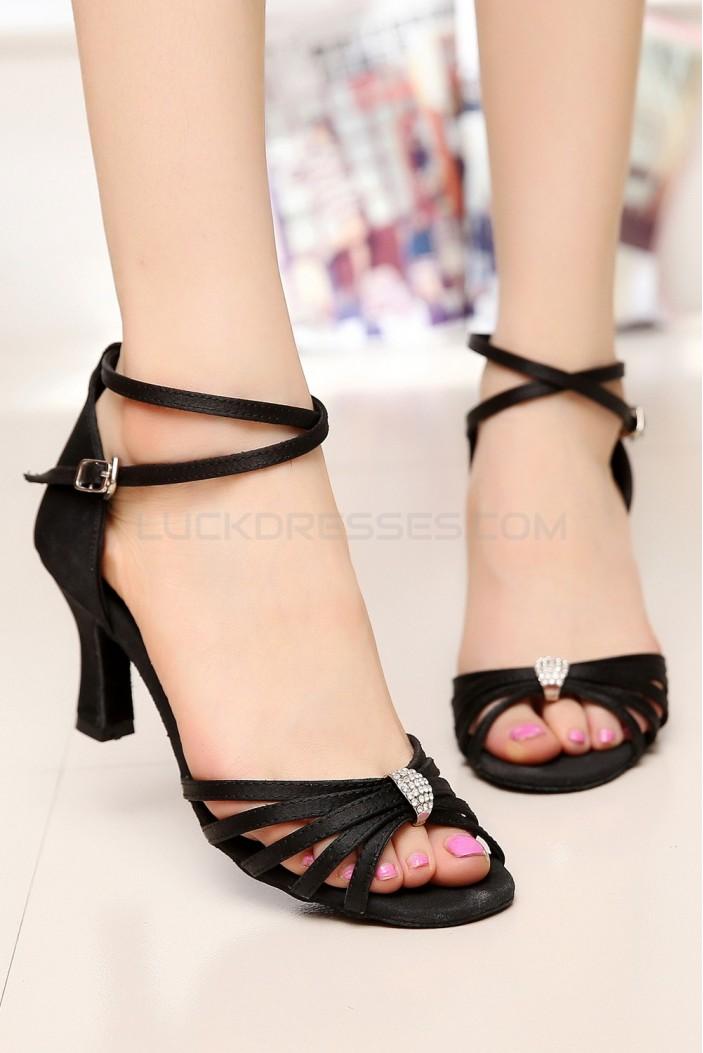 Women's Heels Black Satin Modern Ballroom Latin Salsa Dance Shoes D901027