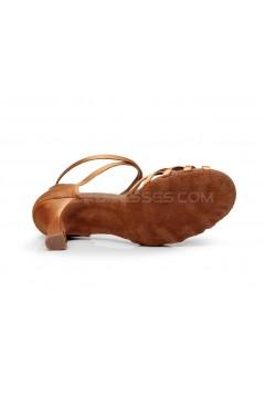 Women's Heels Brown Satin Modern Ballroom Latin Salsa Dance Shoes D901028