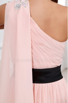 A-Line One-Shoulder Long Pink Beaded Chiffon Prom Evening Formal Party Dresses/Bridesmaid Dresses ED010001