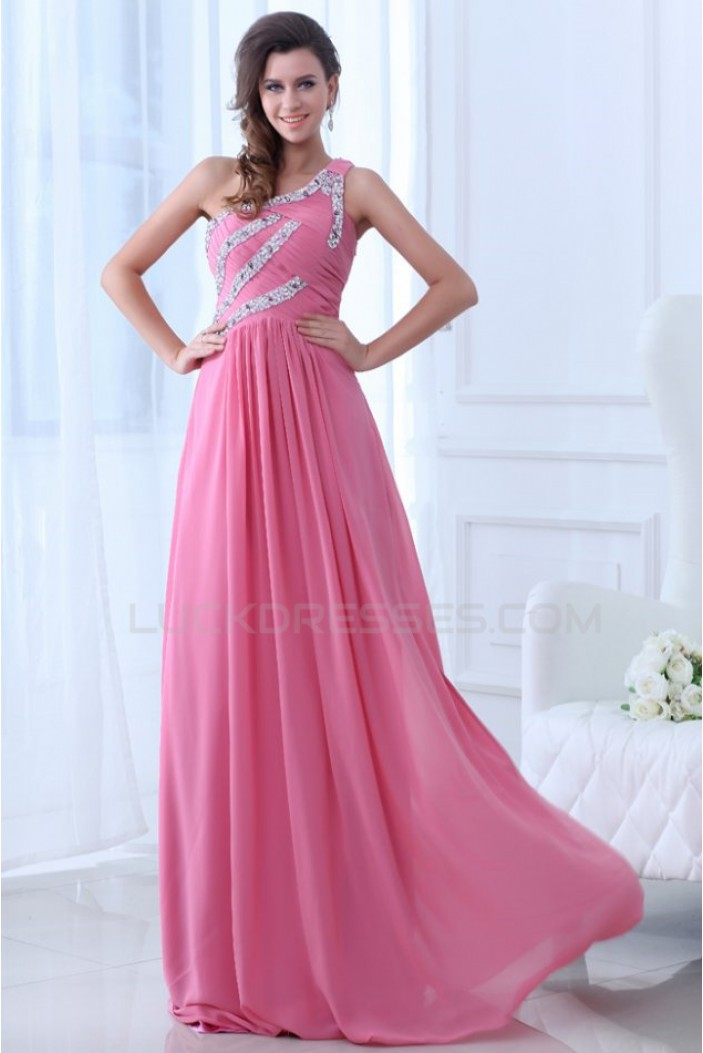 A-Line One-Shoulder Long Pink Beaded Chiffon Prom Evening Formal Party Dresses ED010002