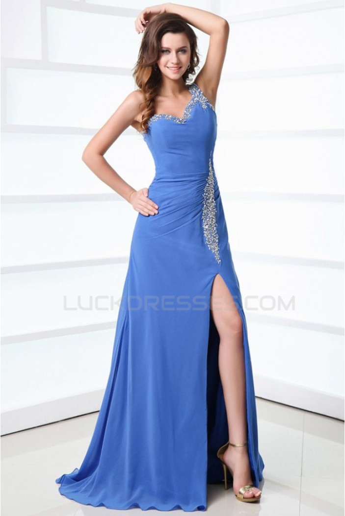 A-Line One-Shoulder Long Blue Beaded Chiffon Prom Evening Formal Party Dresses ED010003