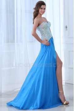 A-Line Sweetheart Beaded Long Blue Chiffon Prom Evening Formal Party Dresses ED010004