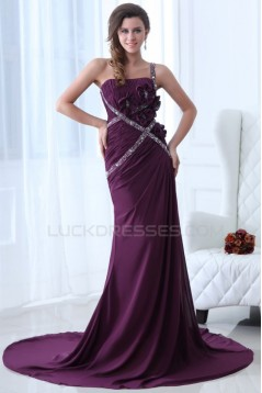 Sheath One-Shoulder Beaded Long Chiffon Prom Evening Formal Party Dresses ED010005