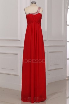 Empire One-Shoulder Long Red Beaded Chiffon Prom Evening Formal Party Dresses/Maternity Evening Dresses ED010006