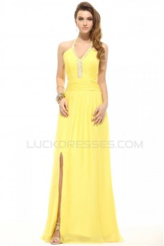 Sheath/Column Halter Long Yellow Beaded Chiffon Prom Evening Formal Party Dresses ED010007